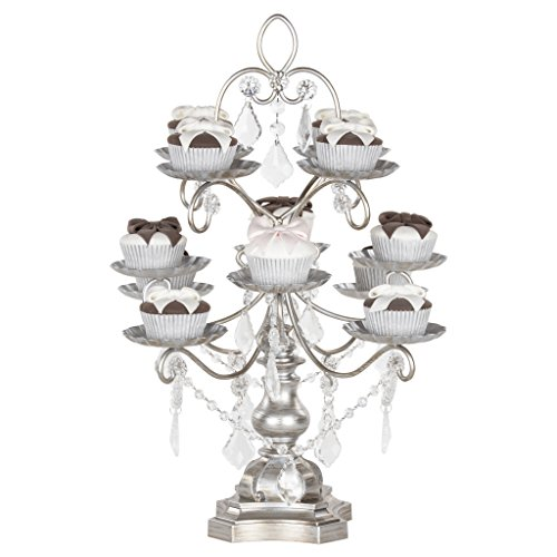 Madeleine Collection' 12 Piece Dessert Cupcake Stand Display Tower with Crystal Dangles (Silver) ()
