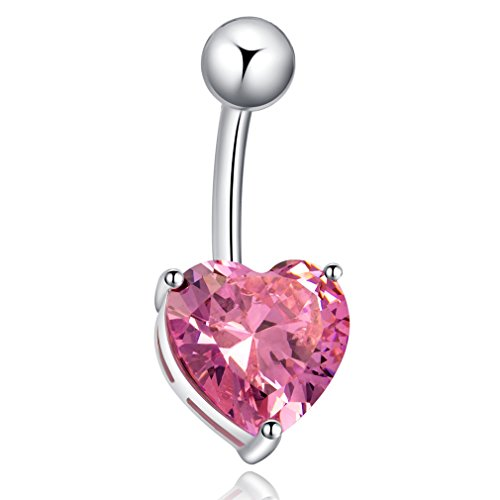Butterme Elegant Stainless Steel Shiny Cubic Zircon Heart Shape Belly Button Ring Body Piercing Jewelry for Women Ladies Girls (Silver with Pink Zircon)