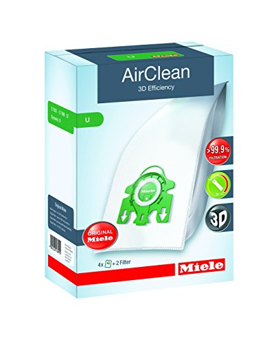 Miele 10123230 AirClean 3D Efficiency Dust Bag, Type U, 4 Count, 2 Air (Aaa Bag)