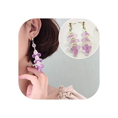 Design Summer Korean Fairy Mystery Purple Flower Shinny Sequins Earrings Set Butterfly Bowknot Ball Long Drop Earrings,J