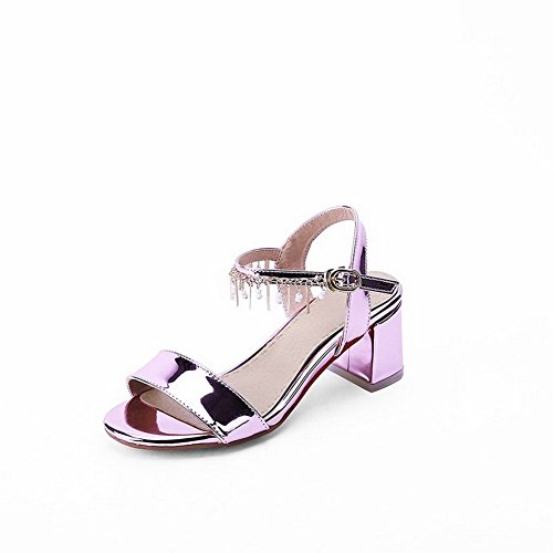 AllhqFashion Women's Kitten-Heels Soft Material Solid Buckle Open Toe Sandals Pink