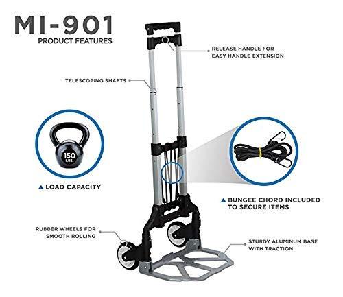 Capacit/é 75 kg Chariot Bagages avec Extensible T/élescopique Poign/ée et Roues Caoutchouc Chariot Pliable Diable Mount-It Levage Charges Lourdes
