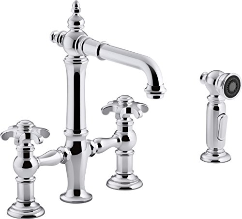 Kohler K-76520-3M-CP Artifacts Deck-Mount Bridge bar Sink Faucet with Prong Handles and sidespray Polished Chrome