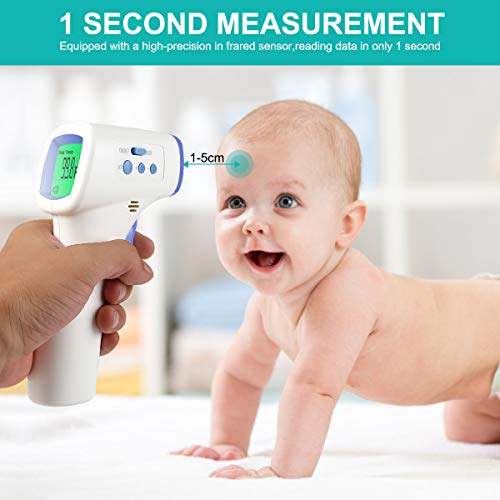 Thermometer Gun Non Contact for Forehead Ear 32-43 89.6-109.4 Digital CE Medical Approved Body Infrared Gun for Adult Baby Kids Human Temporal Temperature for Fever