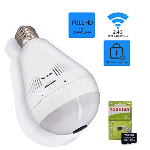 Light Bulb Camera, 3MP Hidden Lamp Security Cam with 16G Sd Card, Wireless WiFi 360 Panoramic VR Fisheye Spy IP CCTV Video Surveillance System, Front Door, Porch E26 LED Fixture, Home Indoor Usage ()