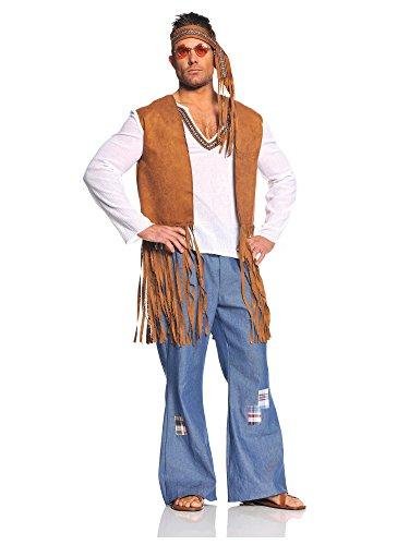 Underwraps Costumes  Men's Retro Hippie Costume - Right On, White/Tan/Blue, One Size -