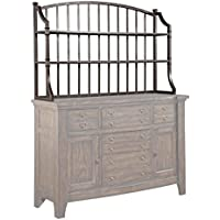 Attic Retreat 4990-514 53 Wide Metal Server Hutch with 2 Wood Shelves Splat Back Design and Shaped Side Bars in Weathered Mink Finish