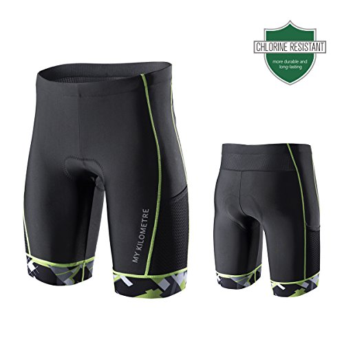 My Kilometre Triathlon Men`s Shorts 9 inches Blue with Two pockets ,Chamois for Long-distance Tri Race,Running short,swimsuit (black-green, - Triathlon Mens