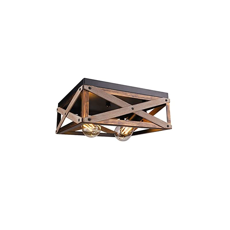 Rustic Farmhouse Flush Mount Ceiling Light Fixture, 2-Light Combine with Metal and Wood, Square Antique Ceiling Light…