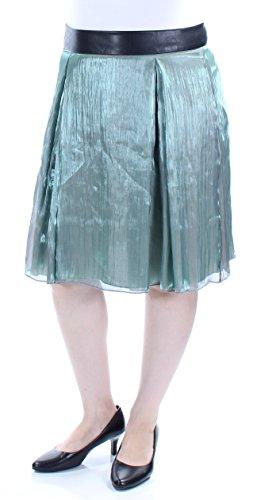 (Robert Rodriguez $89 Womens New 1547 Green Faux Leather A-Line Skirt 14 B+B)