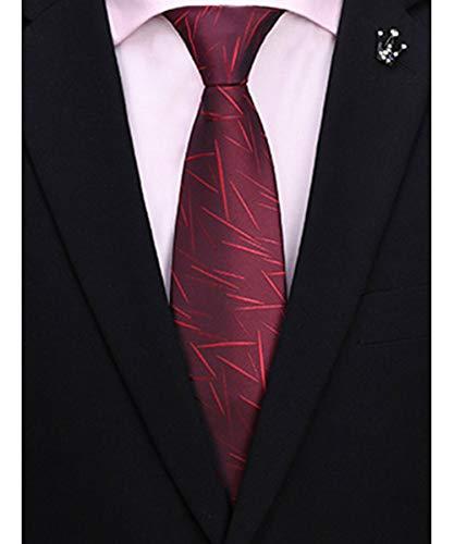 Men's Classic Burgundy Wine Irregular Pattern Tie Silk Necktie + Gift Box ()
