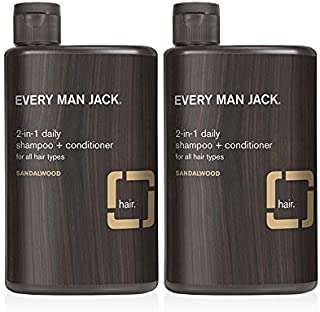 product image for Every Man Jack 2-in-1 Daily Shampoo + Conditioner - Sandalwood | 13.5-ounce Twin Pack - 2 Bottles Included | Naturally Derived, Parabens-free, Pthalate-free, Dye-free, and Certified Cruelty Free