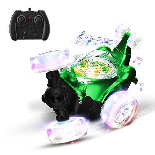 UTTORA Remote Control Car,RC Stunt Car for Kids Toys with Music & Colorful Lights,360°Rotation Racing Car for Boys Girls Adults(Green)