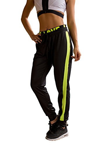 Price comparison product image Womens Love Printed Zip Fashion Drawstring Ankle Banded Casual Yoga Sports Pant (L: 135-150lb, BlackGreen)