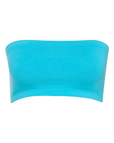 Bella + Canvas Womens Cotton Spandex Bandeau (0980) -TURQUOISE (Canvas Cotton Skirt)