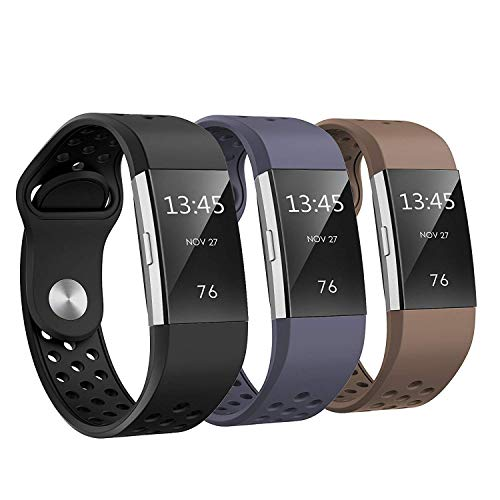 SWEES Silicone Bands Compatible Fitbit Charge 2, 3 Packs Sport Breathable Replacement Bands Women Men Small & Large (5.7 - 8.3), Black, Grey, Navy Blue, Pink, White, Teal