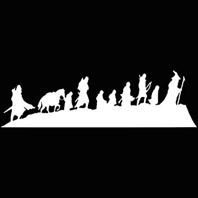 Fellowship Lord Of The Rings Decal Vinyl Sticker|Cars Trucks Vans Walls Laptop| White |7.5 x 2.5 in|LLI216: Automotive