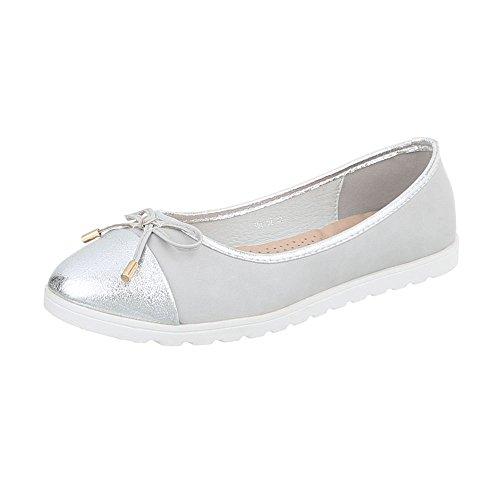Ital-Design Chaussures Femme Mocassins Plat Slippers Argent Hh-92 kVEGx
