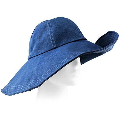 Packable Summer Beach Sun Hat - Flexible Wide Wire Brim - Strap Included - Denim - Clothing Beach Stores Panama City