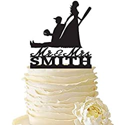 KISKISTONITE Mr. Mrs. with Bride Dragging Baseball Playing Groom - Baseball Cake Topper With Name - Funny Wedding Cake Topper Anniversary Engagement Favors Party Supplies Decoration