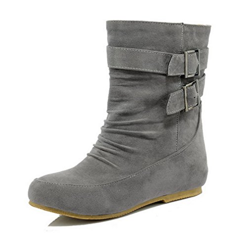 AmoonyFashion Womens Imitated Suede Low-Top Solid Pull-On Low-Heels Boots Gray PPMp9e8v