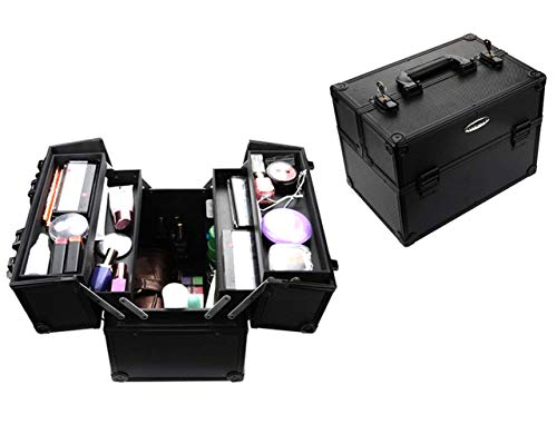 LESUFINE Makeup Train Case Professional Large Makeup Case with 4 Trays and 2 Locks Makeup Cases Organizer (Black)