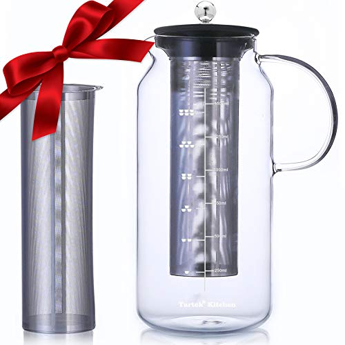 Large Glass Teapot with Infuser & Cold Brew Iced Coffee Maker -50oz/1.5L - Glass Pitcher with Removable Stainless Steel Filter - Stovetop & Freezer Safe - Coffee & Tea Brew Recipe Includ ()