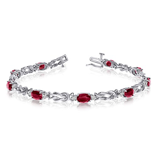 - Jewels By Lux 14k White Gold Natural Garnet And Diamond Tennis Bracelet