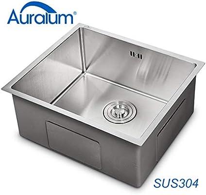 AuraLum Fregadero de cocina 50 × 43 × 21 cm, fregadero de acero ...