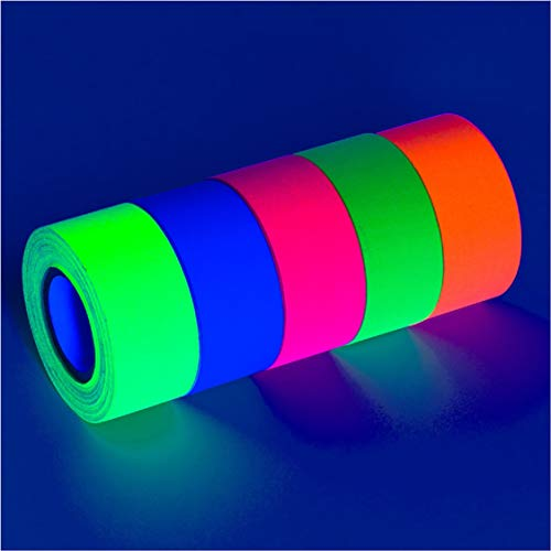 5-Pack UV Blacklight Reactive Fluorescent/Neon Gaffer Tape Matte Finish (1 in x 18 ft - Paper Contact In Dark The Glow