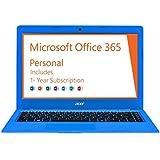 2016 Acer Aspire One 14 inch Cloudbook with One Year Office 365 ( Intel Celeron N3050, 2GB memory, 32GB eMMC, No DVD, Webcam, WiFi, HDMI, Bluetooth, Windows 10 ) - Electric Blue