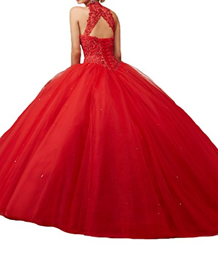 Jurong Women's Appliques High Neck Beads Long Pageant Quinceanera Dresses 16 US Red