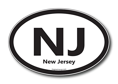 NJ New Jersey Car Magnet US State Oval Refrigerator Locker SUV Heavy Duty Waterproof...
