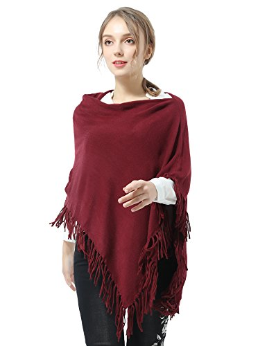 Joulli Women's Knitted Tassel Asymmetric Poncho Wrap Shawl Solid Color Scarf For Casual Business Red,One Size by Joulli (Image #1)
