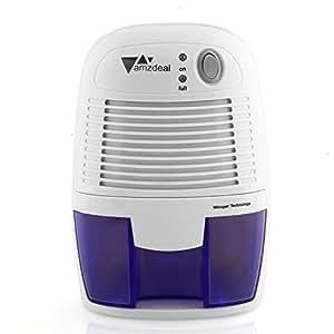 Amzdeal Deshumidificador portátil - Deshumidificador silencioso y ligero, Secadora de 500ML para habitación, armario, baño etc, evita bactéria y humedad y auto-apaga, blanco