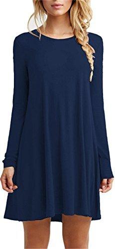 (Tinyhi Women's Casual Plain Long Sleeve Loose Swing Cotton Dress, Darkblue, Large)