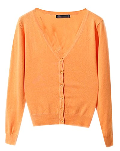 Basic Cardigan Femme Tricot Pulls Chandail Longues Ladies Classique Gilet Haut Pull V Pull Manches Casual Avec Boutons Jumper Top Clair Cardigans Col Orange 6qww7Yvnzd