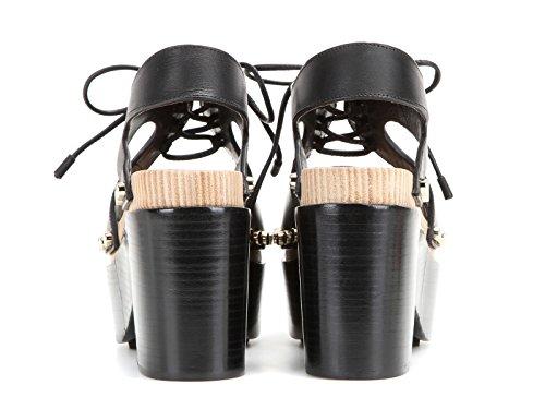 Balenciaga Vrouwen 410951w0wm01000 Zwart Lederen Sandalen
