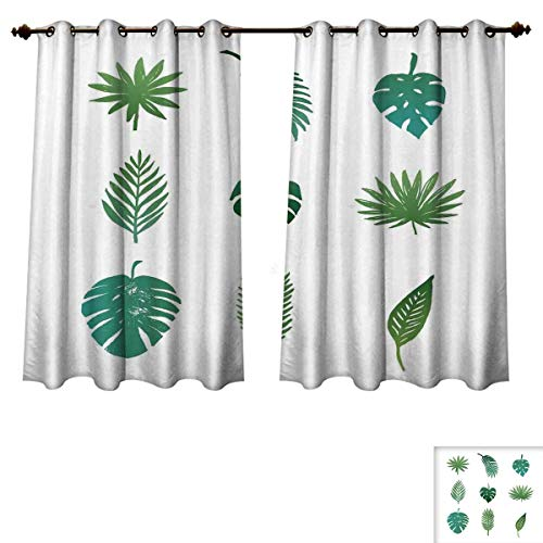 RuppertTextile Palm Tree Blackout Thermal Backed Curtains for Living Room Tropical Paradise Island Nature Theme Hand Drawn Collection Palm Foliage Customized Curtains Green and White W63 x L72 inch ()