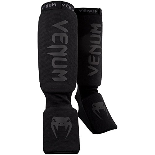 Venum Kontact Shinguards - Black/Black, One Size
