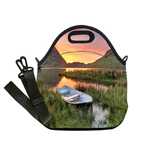 Custom Digital Printing Insulated Lunch Bag,Neoprene Lunch Tote Bags Beautiful Sunset With Rowing Boat In Lake District custom Stylish Lunch Bag, Multi-use for Men, Women and Kids -