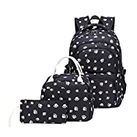 Adanina Dog Paw Prints Backpack Primary School Student Book Bag School Bag for Students (One_Size, Black-C)