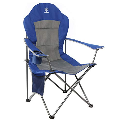 EVER ADVANCED Oversized Padded Quad Arm Chair Collapsible Steel Frame High Back Folding Camp Chair with Cup Holder, Heavy Duty Supports 300 lbs (Arm Folding Chair)