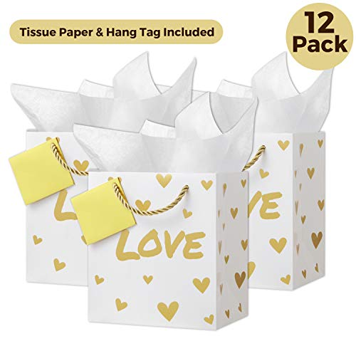 CRANBURY Small Gold Gift Bags with Tissue Paper (Set of 12, Love Design), Gift Foil Bags for Baby Shower, Metallic Gold Birthday Gift Bags, Wedding Gift Bags, Return Gift Bags, Bridal Party Gift Bags
