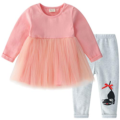 - CECORC Cute Baby Outfits for Girls, Ruffled Tulle Cotton Long-Sleeve Dress, Stretchy Leggings, 2 pcs Warm Seasonal Wear (Pink Dress with Grey Pants, 18-24 Months)