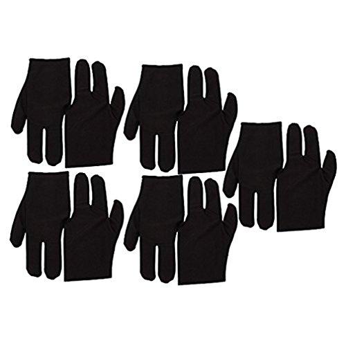 Black Stretch Velvet 3 Fingers Gloves For Billiard Cue Pool Pack Of 10