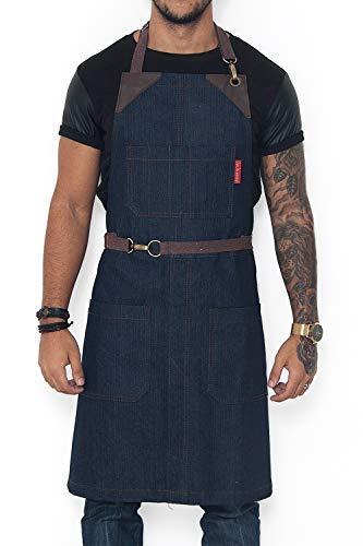 Under NY Sky No-Tie Classic Blue Apron - Durable Denim, Leather Reinforcement and Split-Leg - Adjustable for Men and Women - Pro Chef, Barista, Bartender, Baker, Stylist, Tattoo, Artist, Server ()