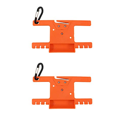 Survival Paracord Spool Tool Rope Winder 550 Paracord Keeper Parachute Cord Organizer Line Reel Multifunctional Outdoor Survaval Tool with Carabiner (Orange, 2 Pack)