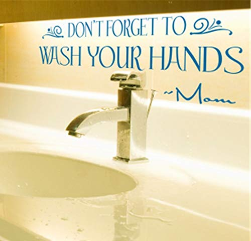 Uertyz Wall Decal Sticker Art Mural Home Decor Quote Don't Forget to Wash Your Hands - Mom for Washroom for Nursery Kid Room Child (Mario Don T Forget To Wash Your)