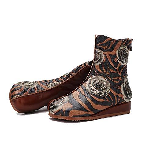 Fermeture Pour Zpedy Brown Vintage Chaussures Éclair Chaussons Personnalité Confort Femmes Mode qg8Rgcf7